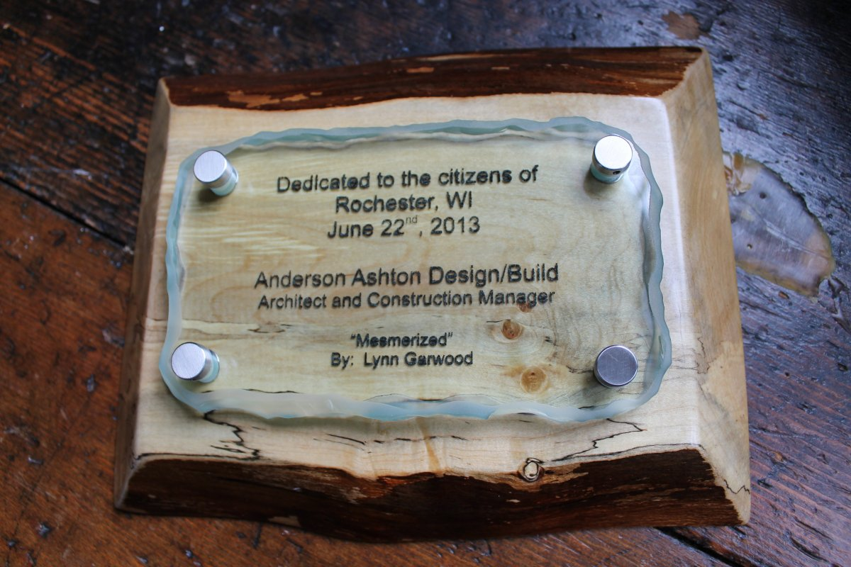 Custom plaque designed by Steve Wagner