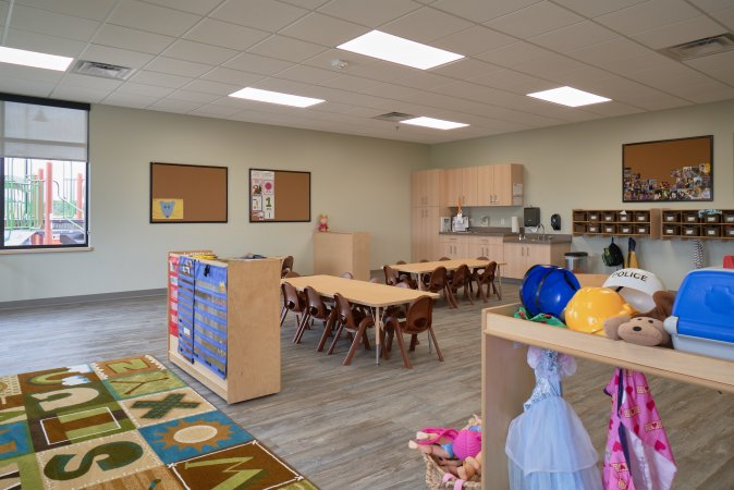 Preschool classroom with tables