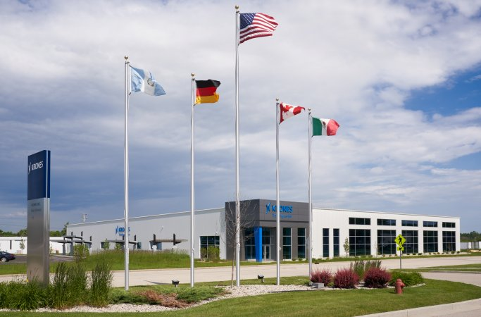 Exterior of building with flags